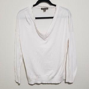 Tommy Bahama Silk Trim Long Sleeve Blouse Sweater